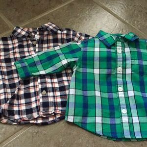 Other - NWT 2 plaid long sleeve shirts 3-6m